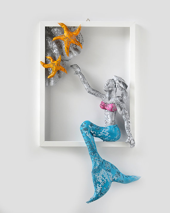 Metal Wall Art Picture   Sexy Mermaid Art   Framed Art   Ocean